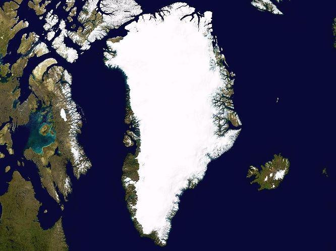 Mapa satelital de Groenlandia